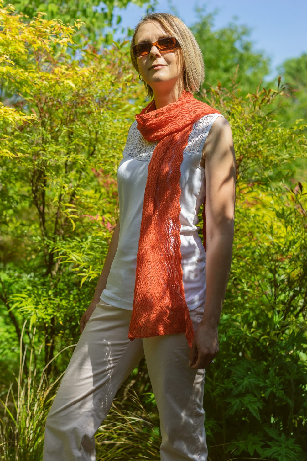 Hot Orange Shimmer Scarf
