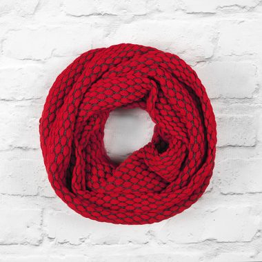 Cherry Red & Slate Grey Textured Infinity Scarf