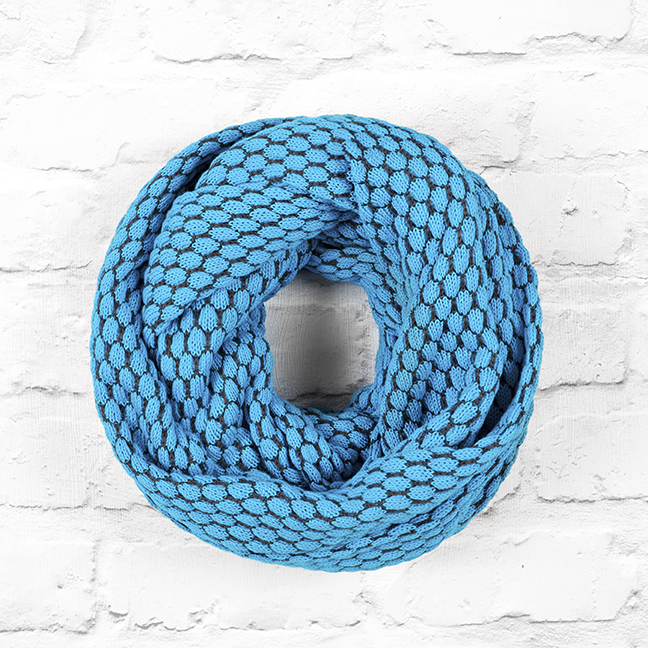 Turquoise Blue and Slate Grey Infinity Scarf