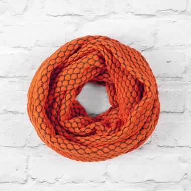Hot Orange & Slate Grey Textured Infinity Scarf