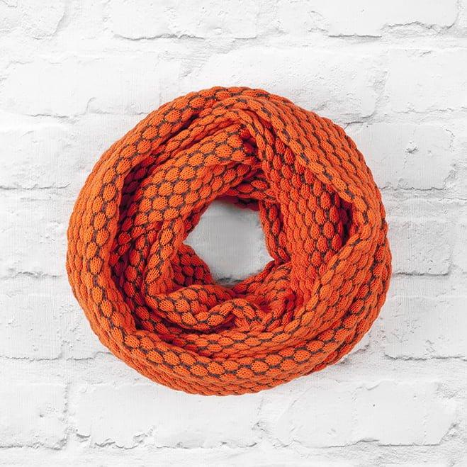 Hot Orange & Slate Grey Textured Infinity Scarf