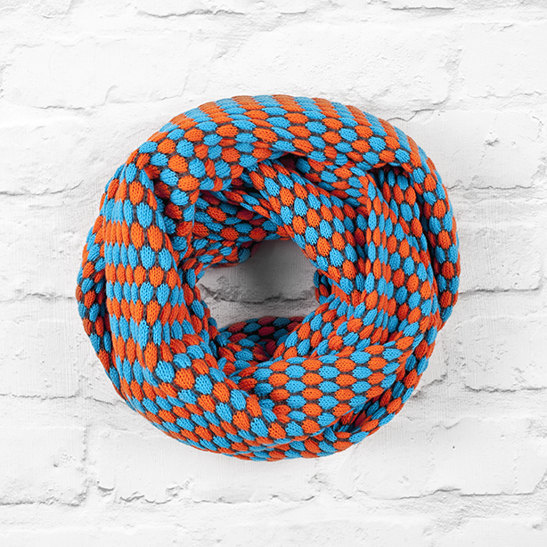 Turquoise Blue, Orange and Navy Infinity Scarf