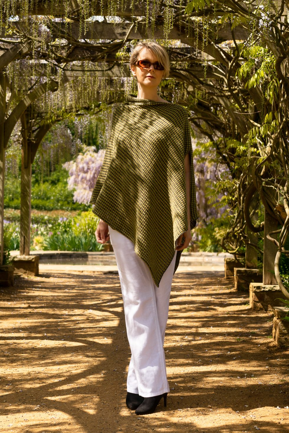 Two Tone Green Tumble Poncho
