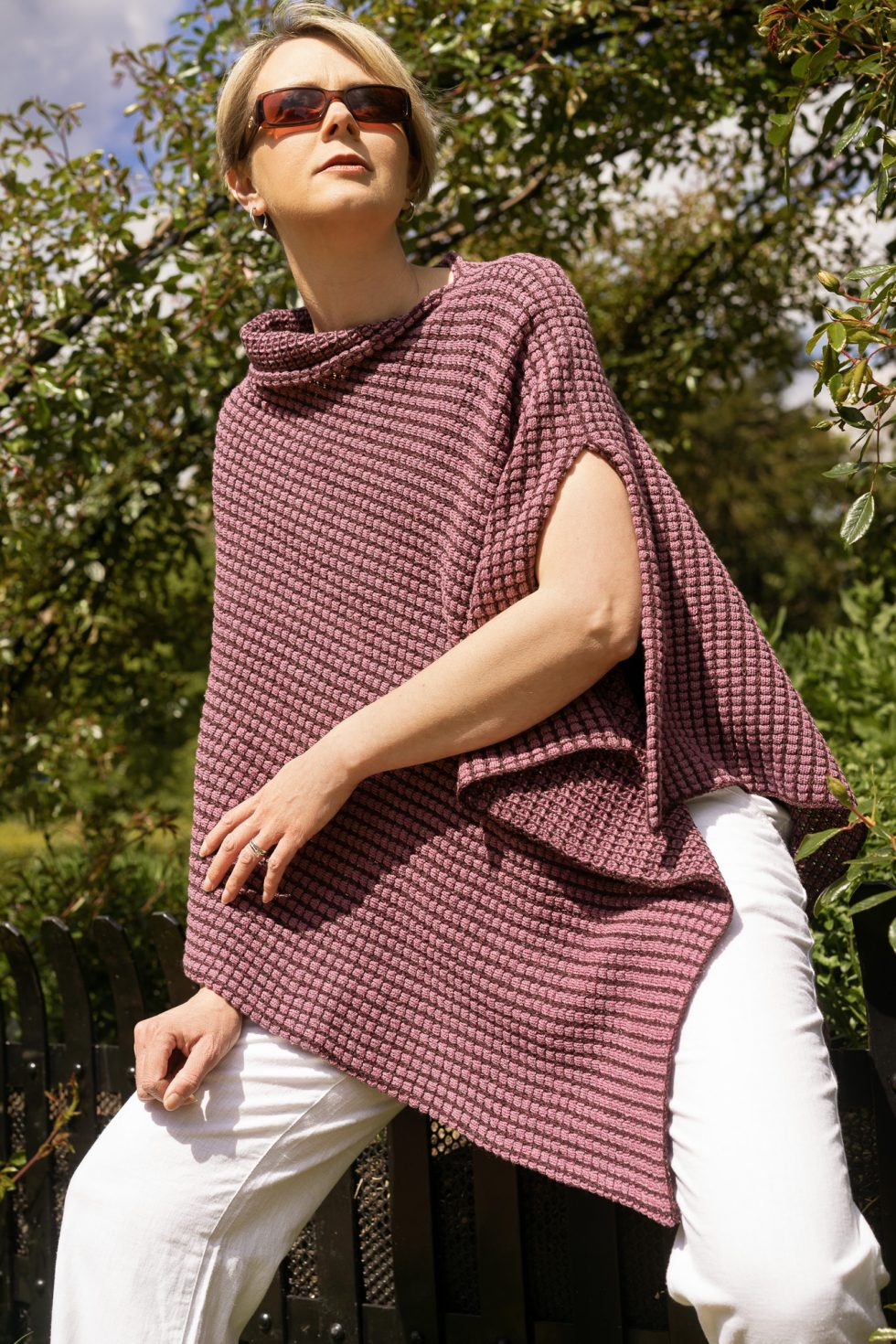 Two Tone Pink Tumble Poncho