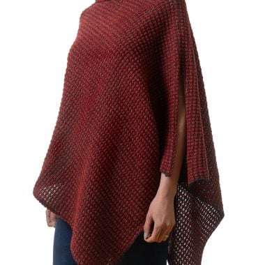 Subtle Red and Black Combination Poncho