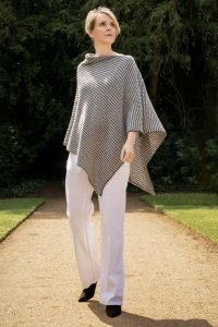 Silver Grey and Black Tumble Poncho
