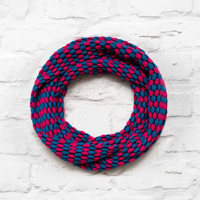 Blue, Pink & Navy Textured Infinity Scarf