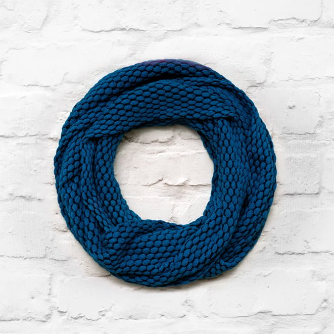 Mid-Blue & Navy Textured Infinity Scarf