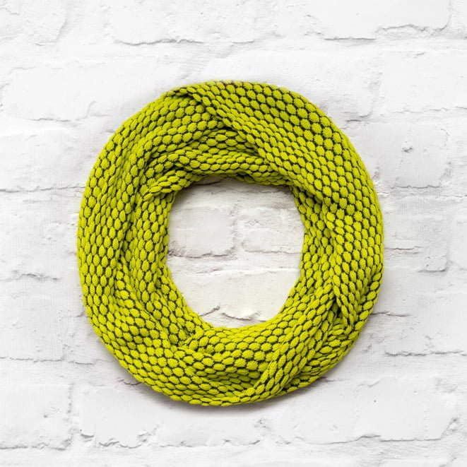 Lime Green and Slate Grey Pebble Infinty Scarf