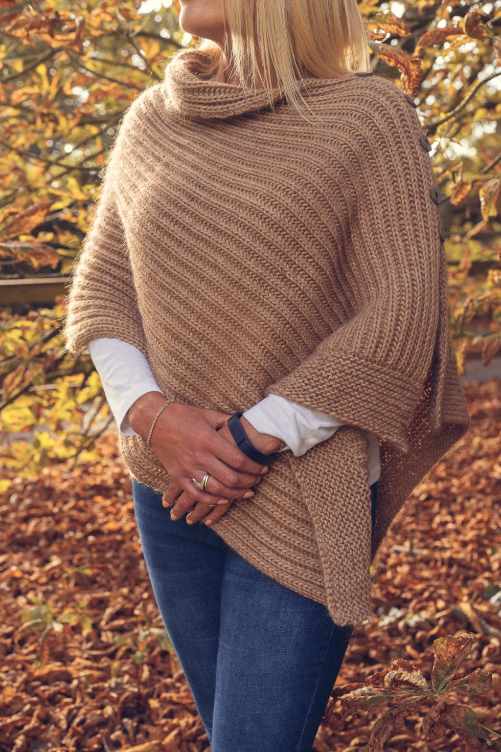 Camel Poncho with Side Opening