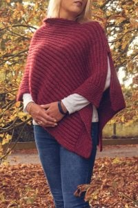 Autumn Red Poncho