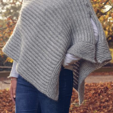 Silver Grey Poncho With Side Opening