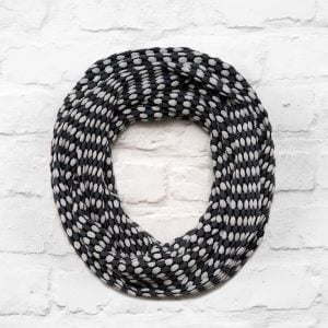 Pearl Grey, Slate Grey and Black Textured Infinity Scarf