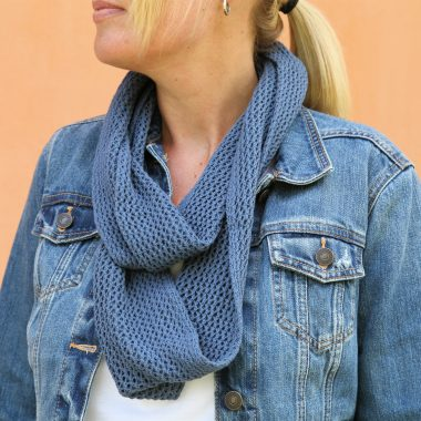 Denim Blue Trellis Cotton Infinity Scarf