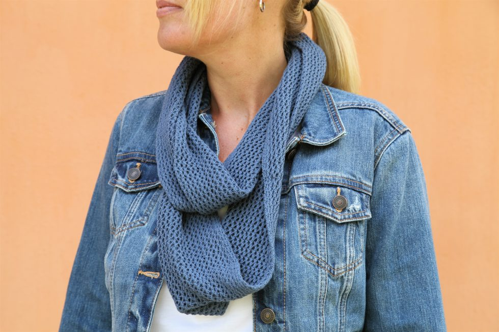 Denim Blue Trellis Cotton Infinity Scarf