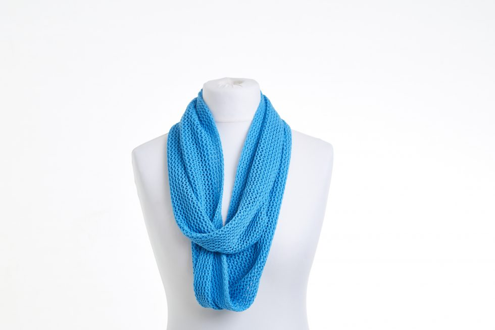 Turquoise Blue Cotton Lace Infinity