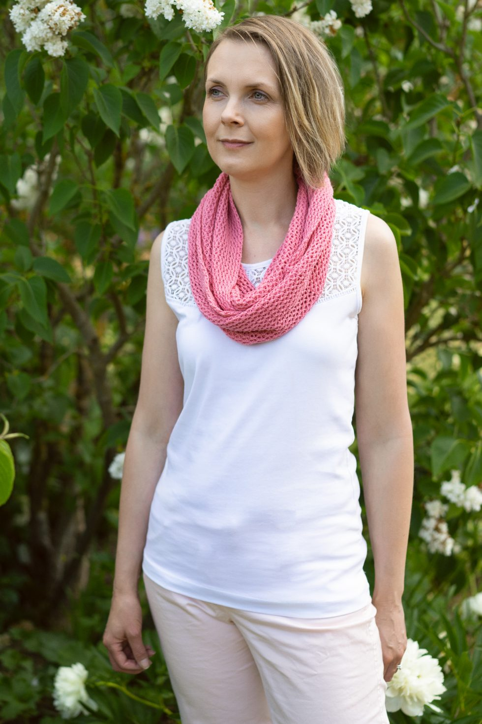 Cyclamen Pink Cotton Lace Infinity Scarf