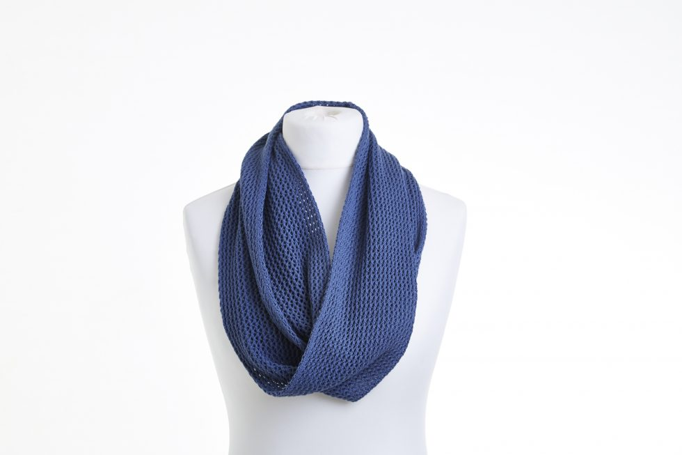 Denim Blue Cotton Lace Infinity Scarf