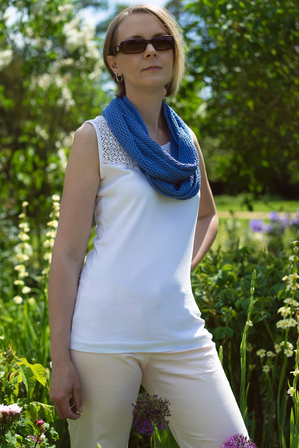 Clematis Blue Cotton Lace Infinity Scarf