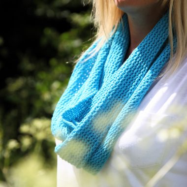 Turquoise Blue Cotton Lace Infinity Scarf