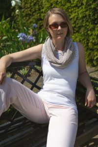 Pearl Grey Cotton Lace Infinity Scarf